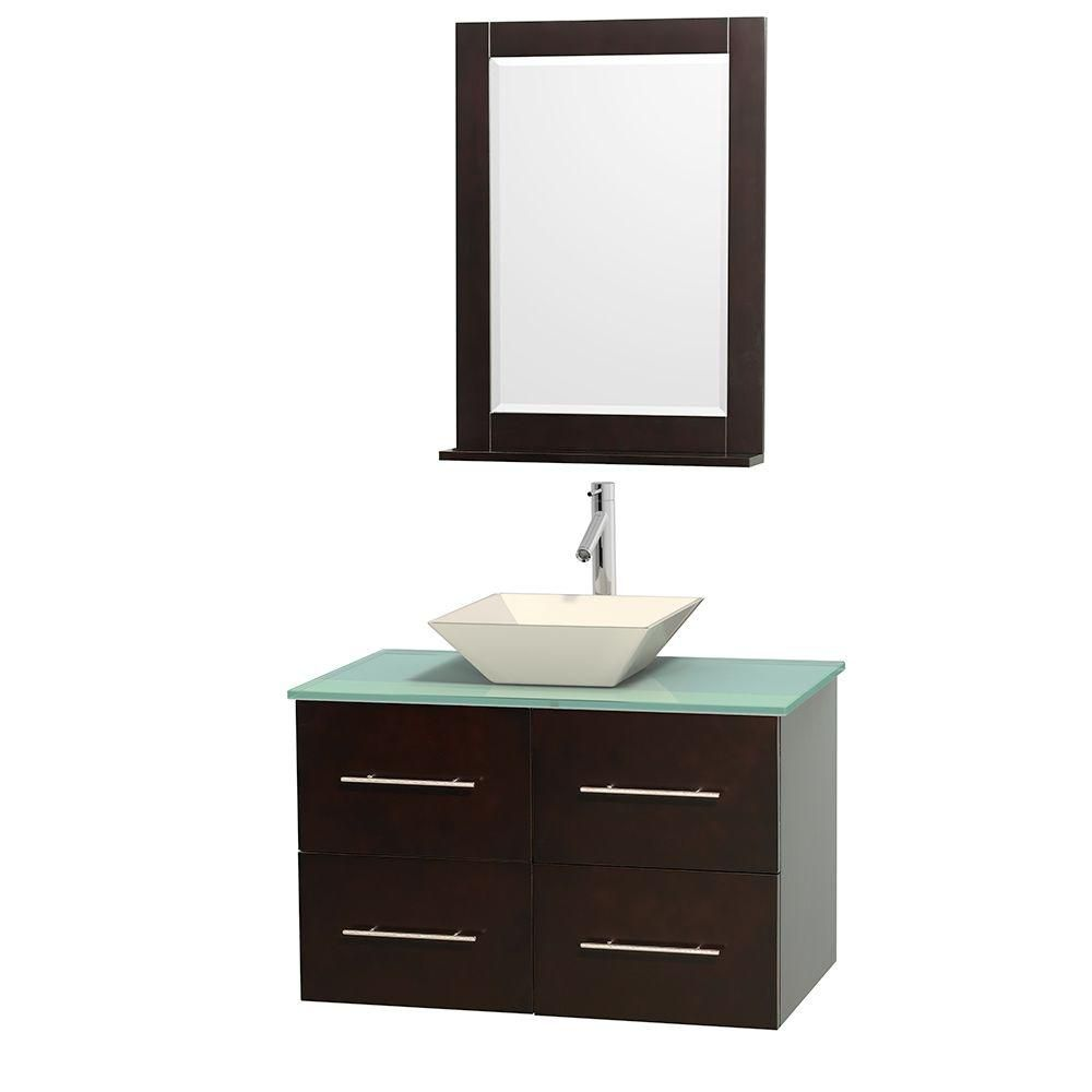 Centra 36-inch W Vanity in Espresso with Glass Top with Bone Basin and Mirror