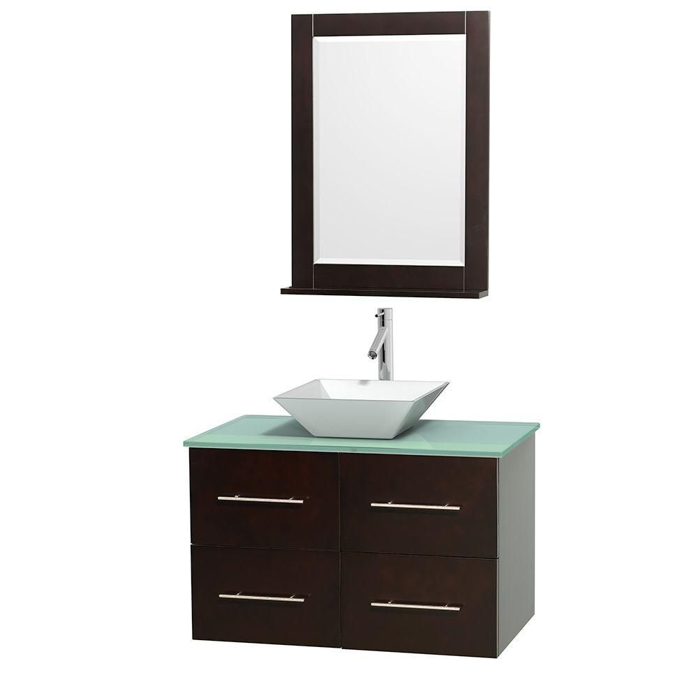 Centra 36-inch W Vanity in Espresso with Glass Top with White Basin and Mirror