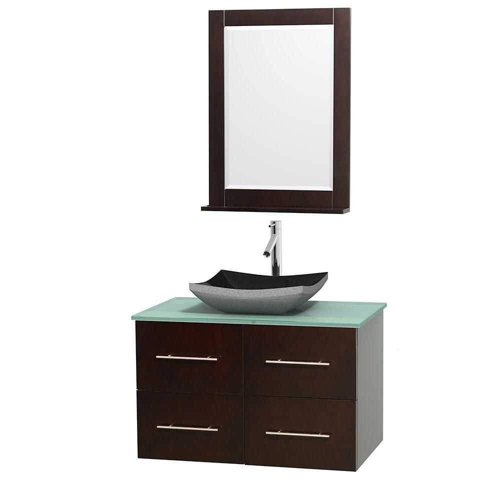 Centra 36-inch W Vanity in Espresso with Glass Top with Black Basin and Mirror