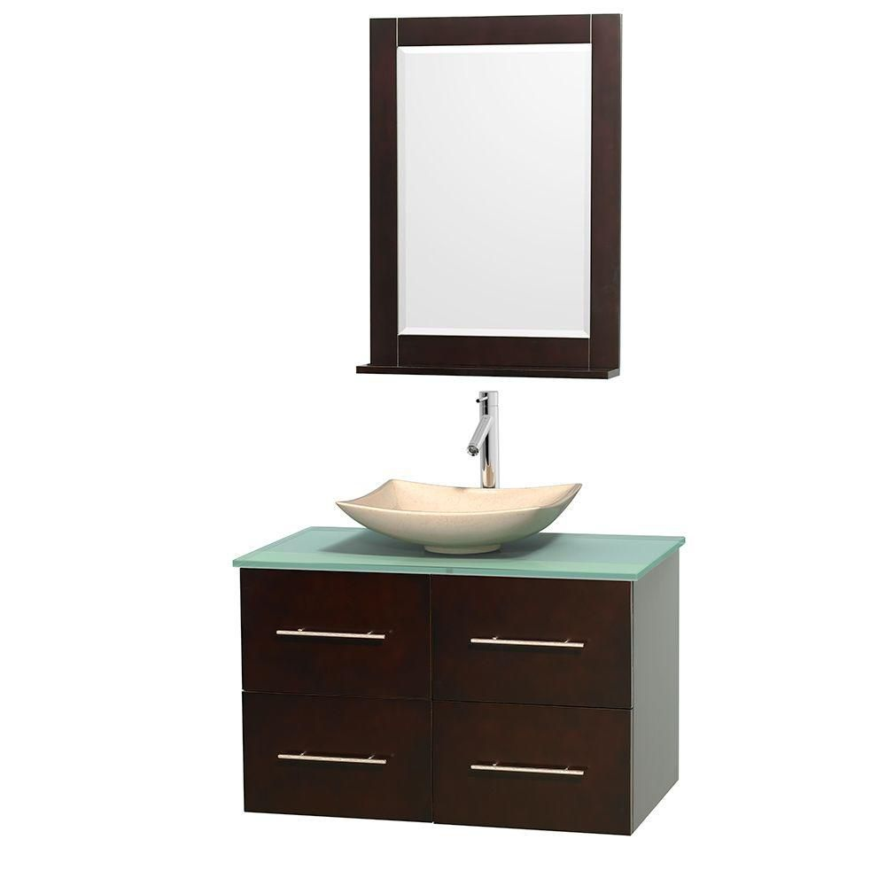 Centra 36-inch W Vanity in Espresso with Glass Top with Ivory Basin and Mirror