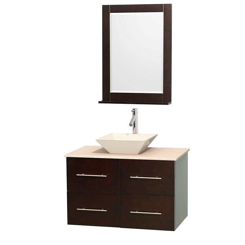 Centra 36-inch W Vanity in Espresso with Marble Top in Ivory with Bone Basin and Mirror