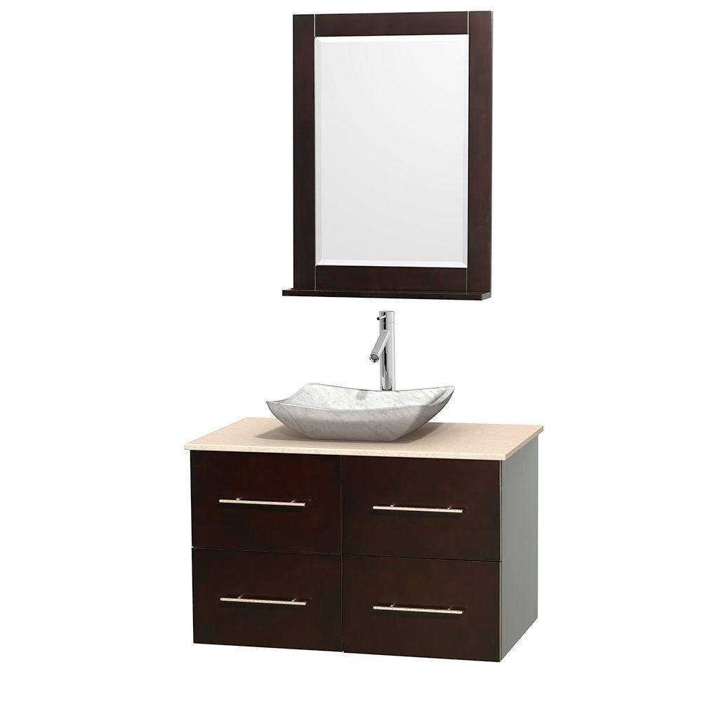 Meuble simple Centra 36 po. espresso, comptoir marbre ivoire, lavabo blanc Carrare, miroir 24 po.