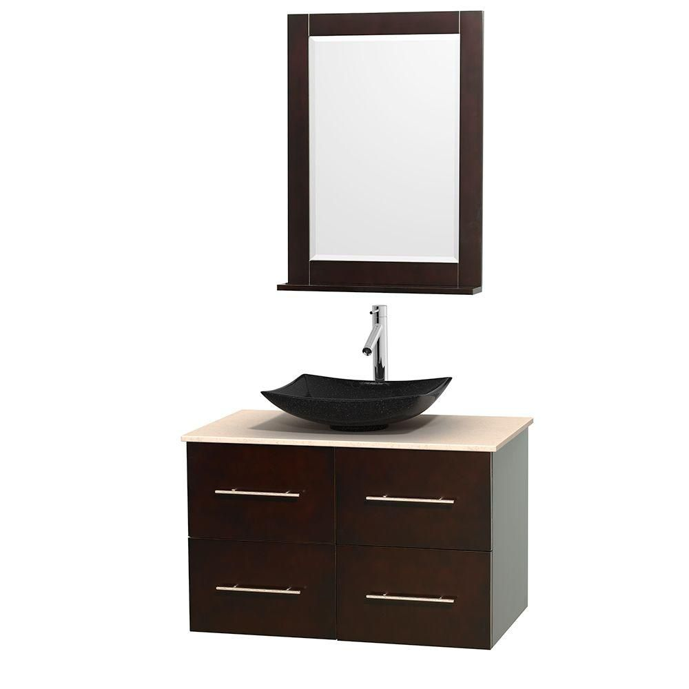 Centra 36-inch W Vanity in Espresso with Marble Top in Ivory with Black Basin and Mirror