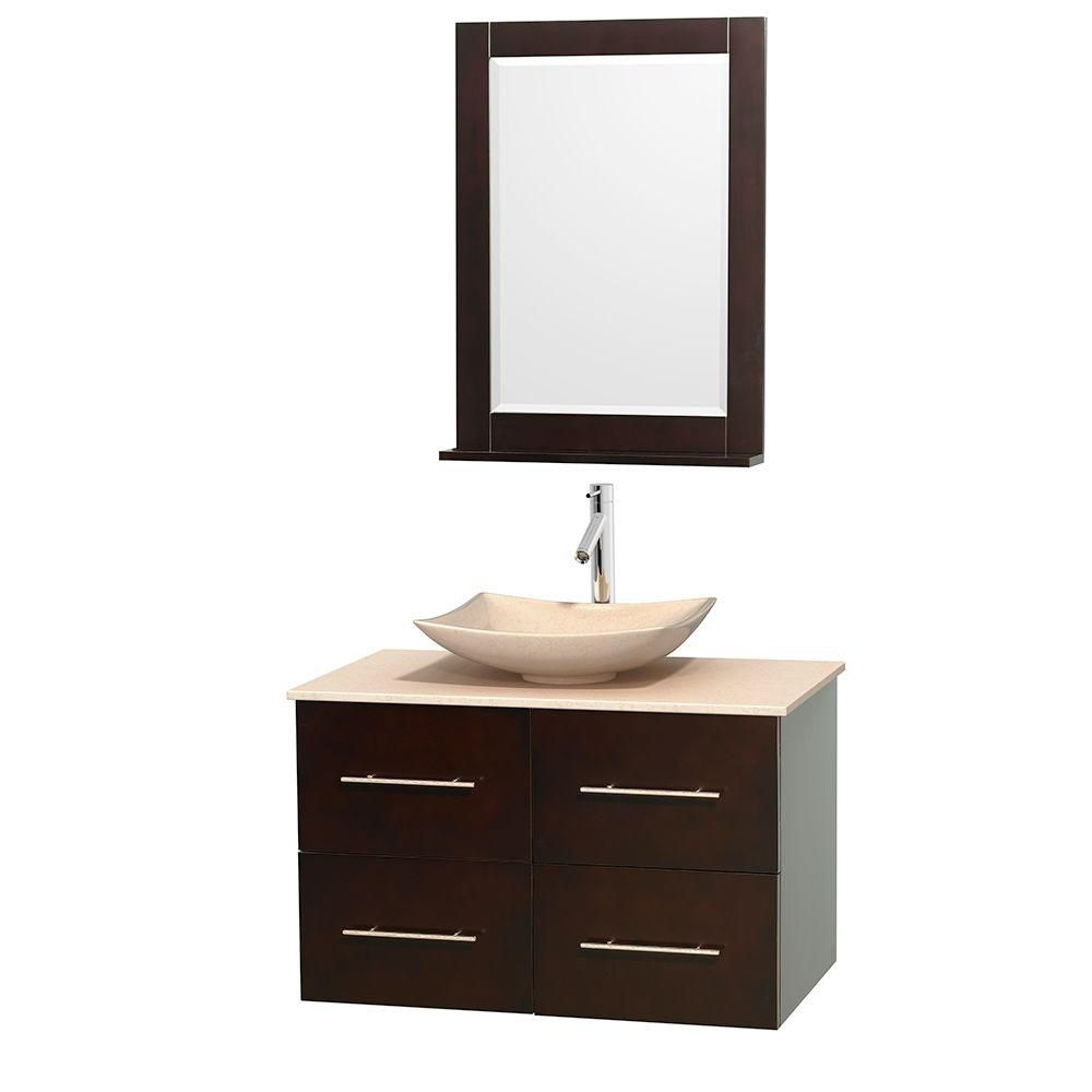 Centra 36-inch W Vanity in Espresso with Marble Top in Ivory with Ivory Basin and Mirror