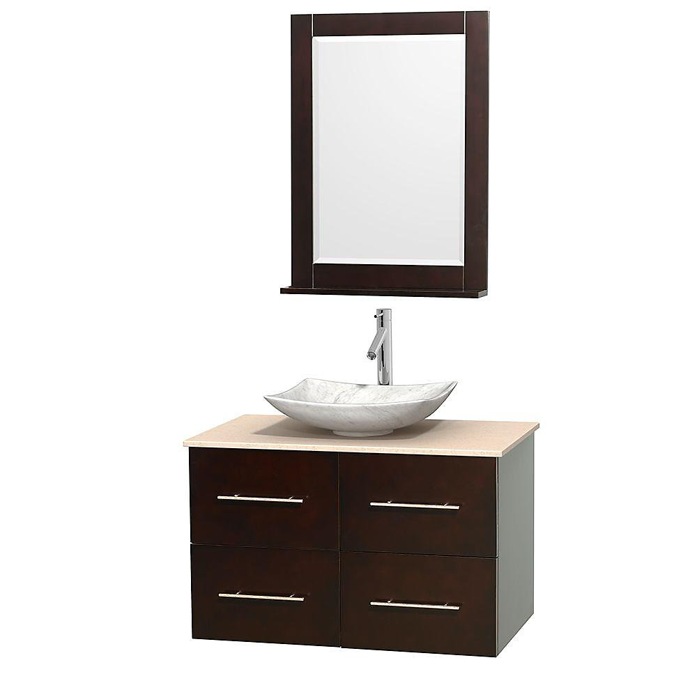 Centra 36-inch W 2-Drawer 2-Door Wall Mounted Vanity in Brown With Marble Top in Beige Tan