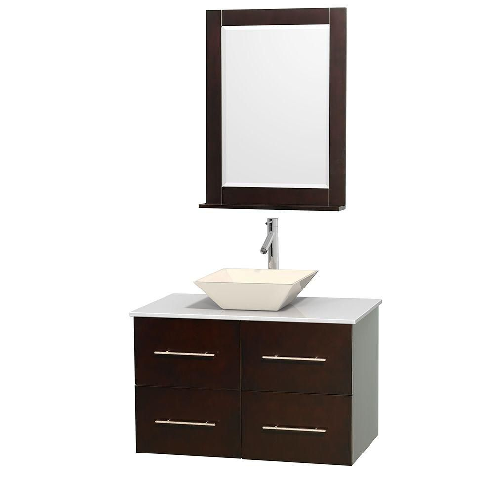 Centra 36-inch W Vanity in Espresso with Solid Top with Bone Basin and Mirror