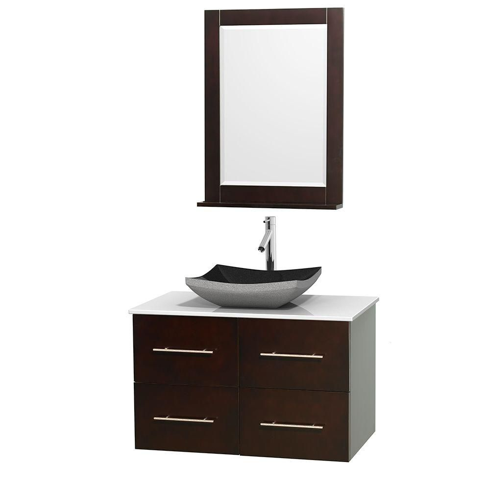 Centra 36-inch W Vanity in Espresso with Solid Top with Black Basin and Mirror