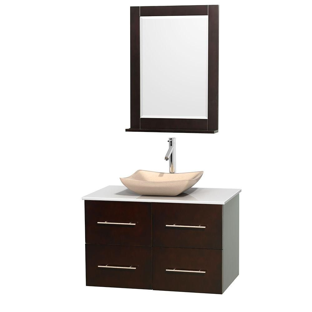 Wyndham collection meuble simple centra 36 po espresso for Meuble lavabo miroir