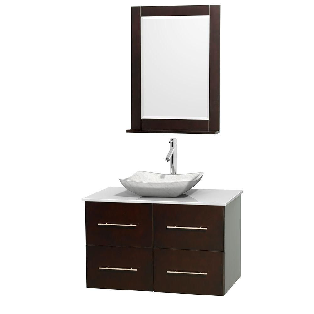 Centra 36-inch W Vanity in Espresso with Solid Top with White Basin and Mirror