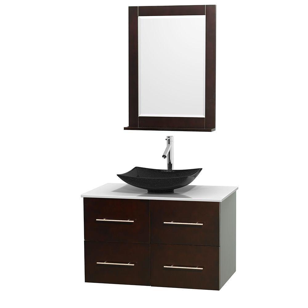 Meuble simple Centra 36 po. espresso, comptoir solide, lavabo granit noir, miroir 24 po.