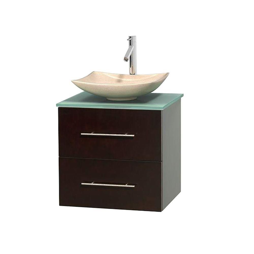Centra 24-inch W Vanity in Espresso with Glass Top with Ivory Basin