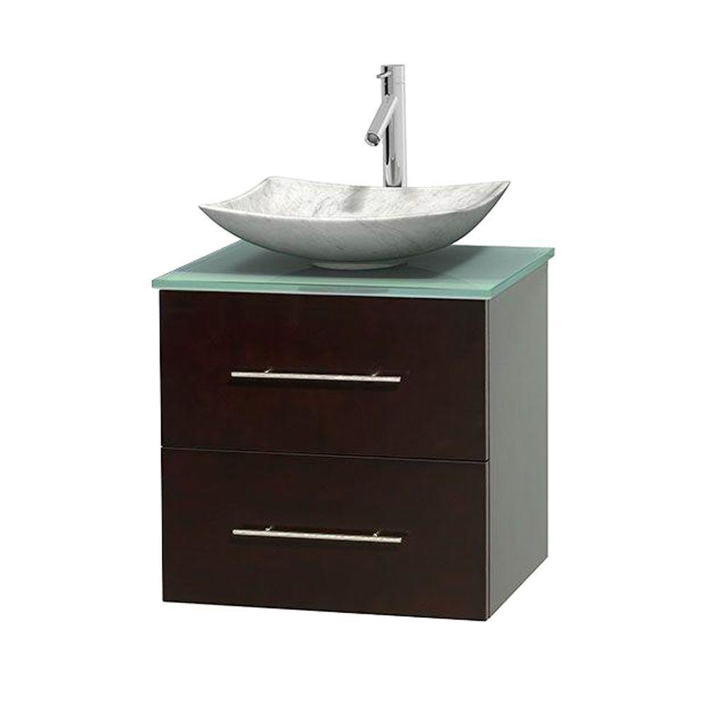 Meuble simple Centra 24 po. espresso, comptoir verre vert, lavabo blanc Carrare, sans miroir