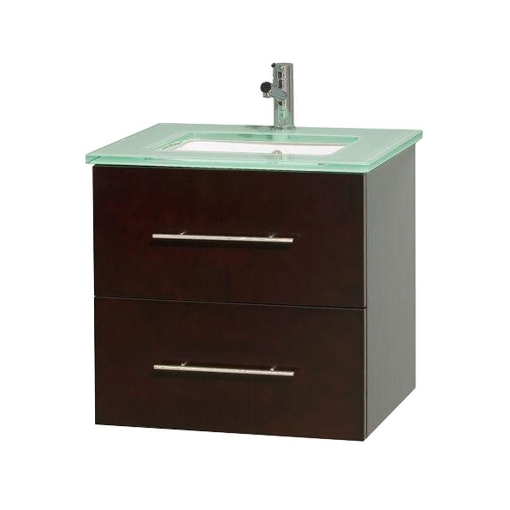 Meuble unique Centra 24 po. espresso, comptoir verre vert, lavabo carré sans miroir