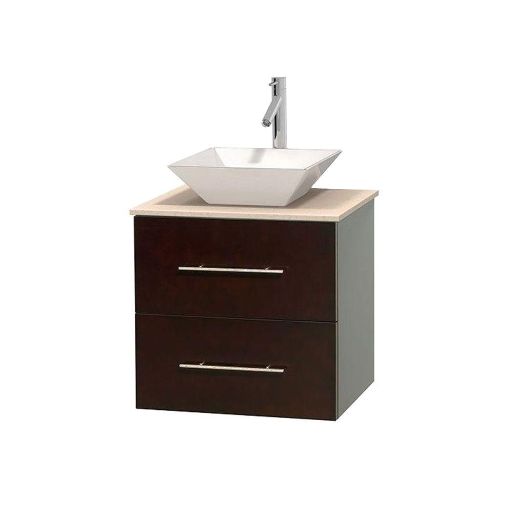 Centra 24-inch W 1-Drawer 1-Door Wall Mounted Vanity in Brown With Marble Top in Beige Tan