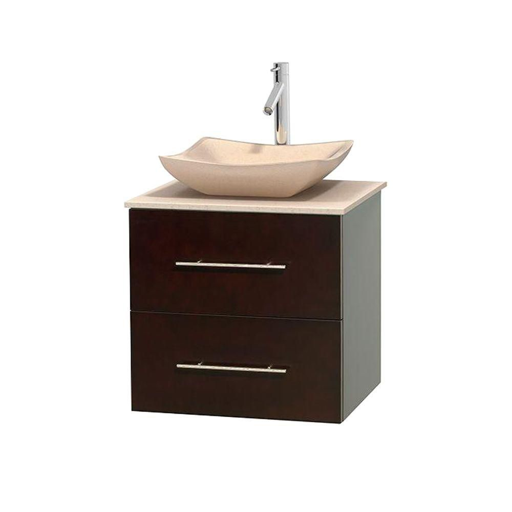 Wyndham Collection Centra 24-inch W 1-Drawer 1-Door Wall Mounted Vanity in Brown With Marble Top in Beige Tan