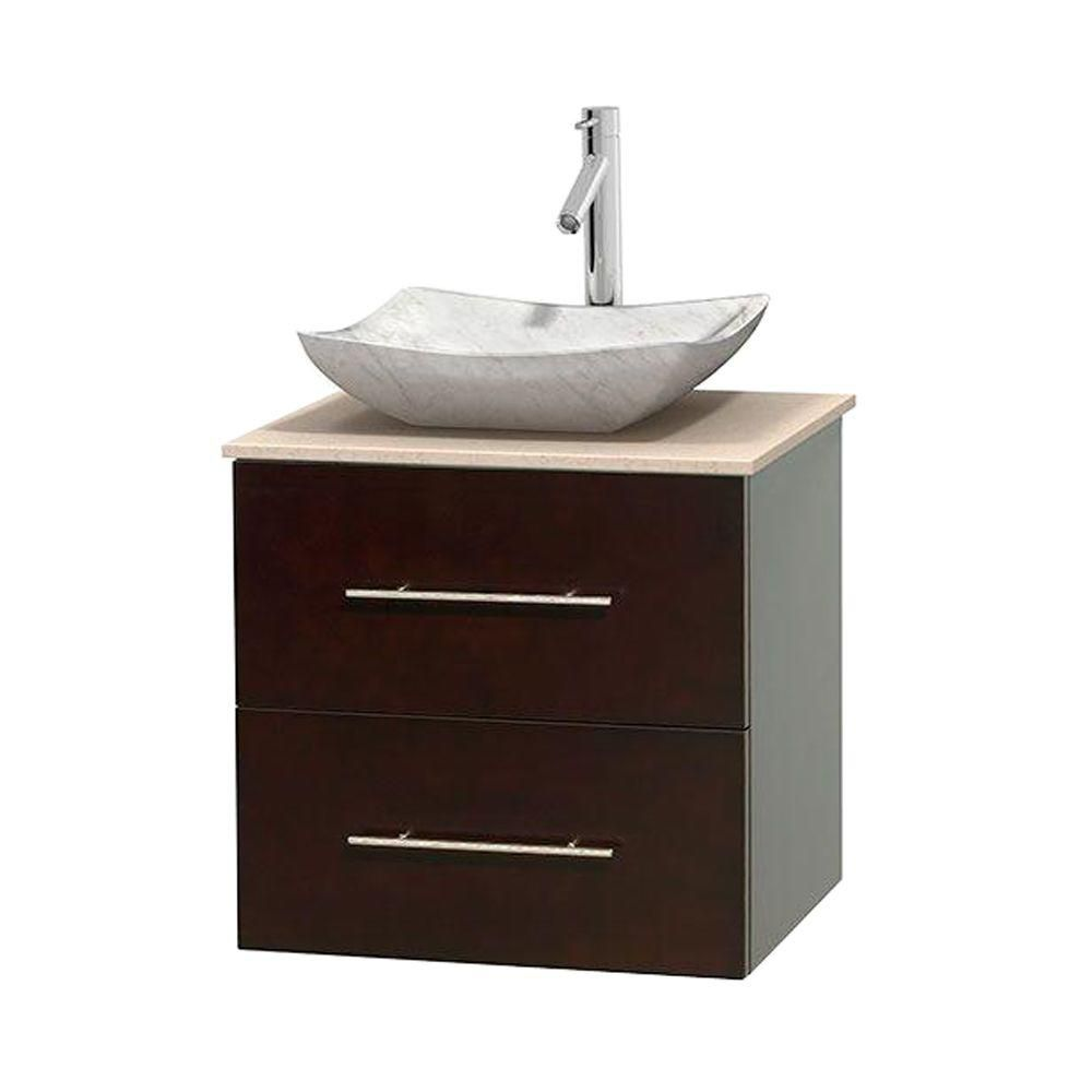 wyndham collection meuble simple centra 24 po espresso comptoir marbre ivoire lavabo blanc. Black Bedroom Furniture Sets. Home Design Ideas