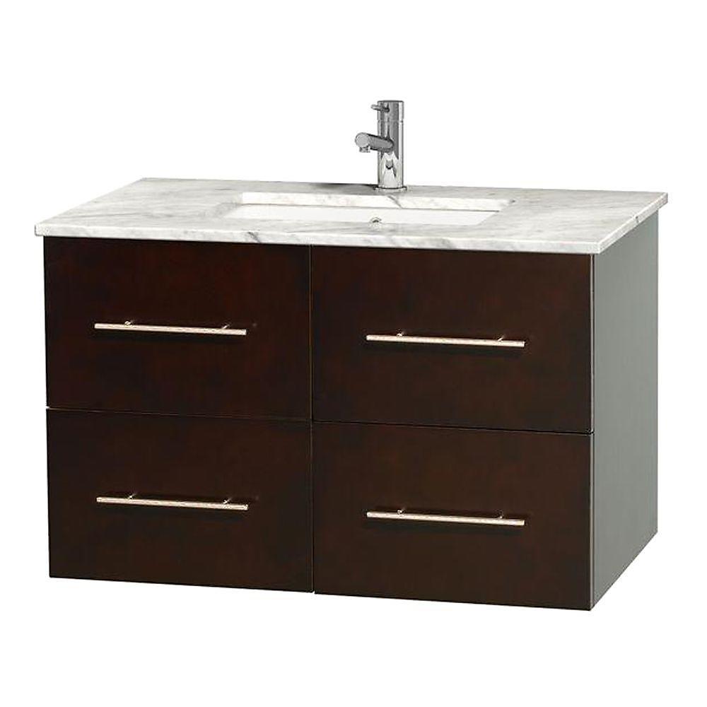 Meuble unique Centra 36 po. espresso, comptoir blanc Carrare, lavabo carré sans miroir