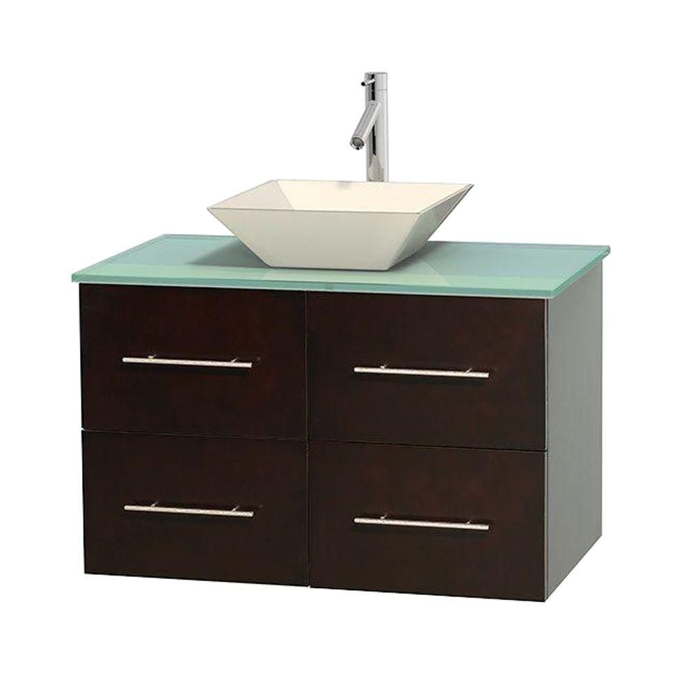 Centra 36-inch W Vanity in Espresso with Glass Top in Green and Porcelain Sink