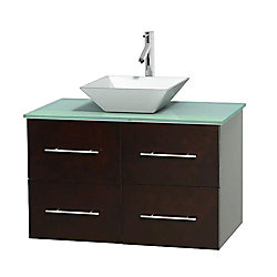 Wyndham Collection Centra 36-inch W 2-Drawer 2-Door Wall Mounted Vanity in Brown With Top in Green