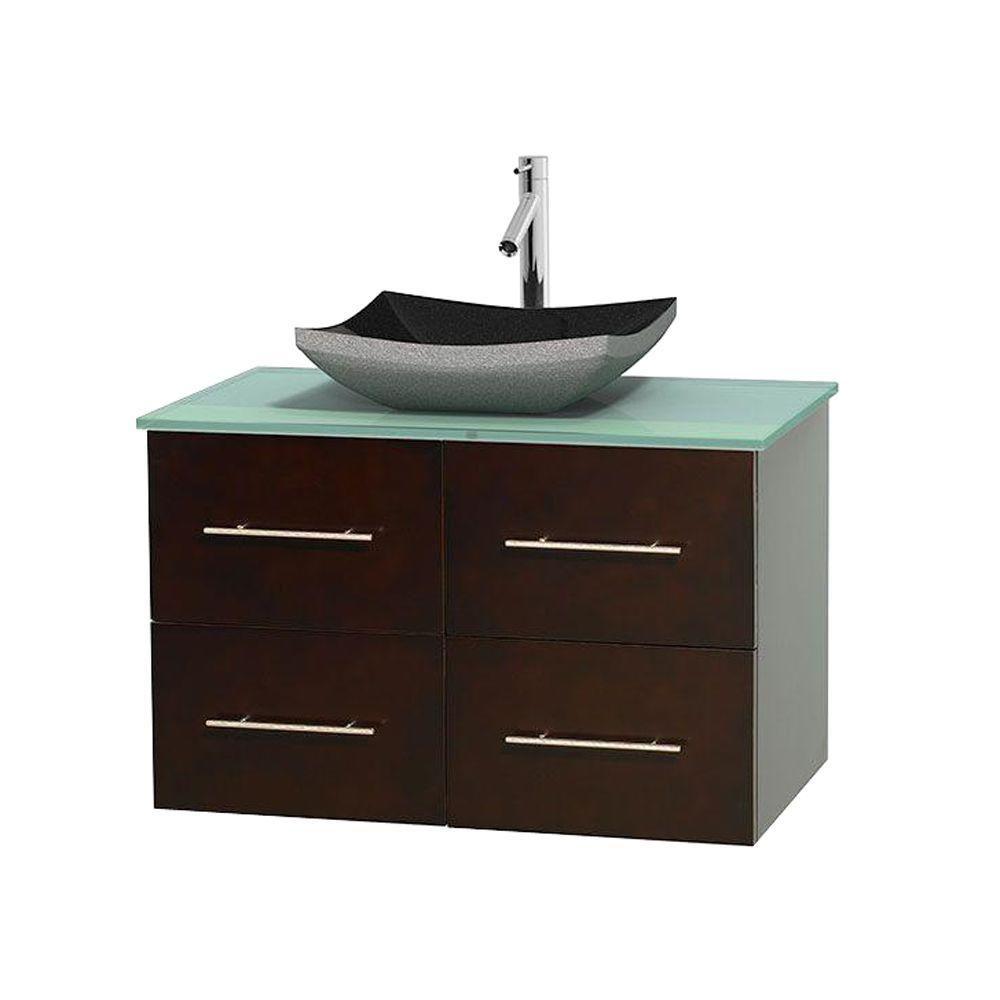 Meuble simple Centra 36 po. espresso, comptoir verre vert, lavabo granit noir, sans miroir