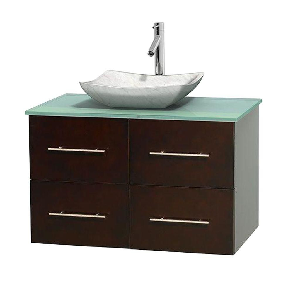 Centra 36-inch W Vanity in Espresso with Glass Top with White Basin