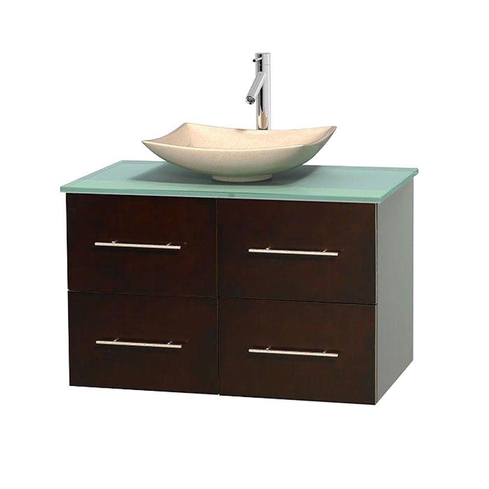 Centra 36-inch W Vanity in Espresso with Glass Top with Ivory Basin