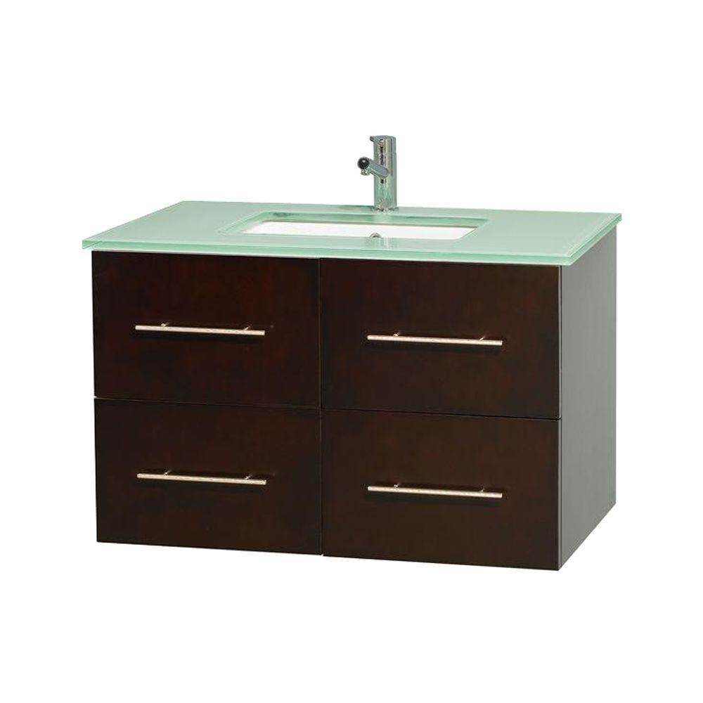 Centra 36-inch W Vanity in Espresso with Glass Top with Square Basin