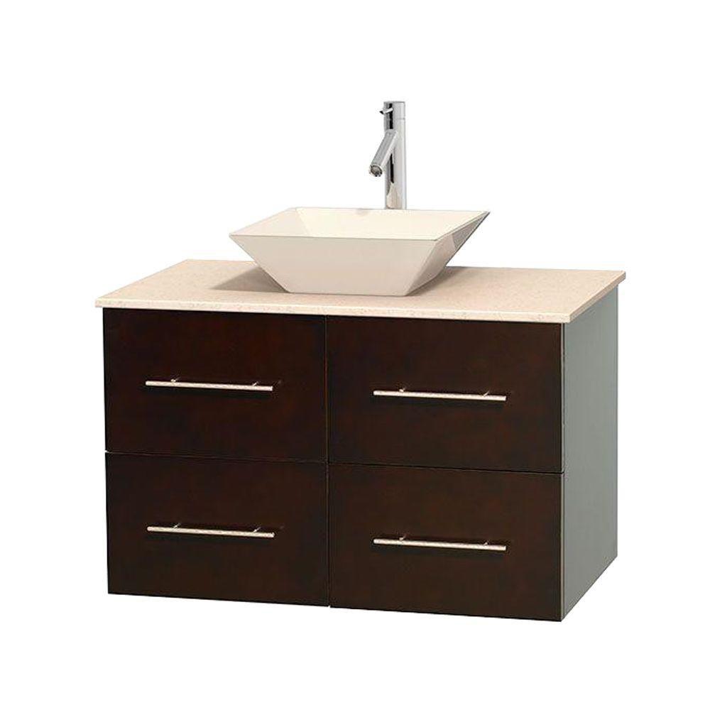 Meuble unique Centra 36 po. espresso, comptoir marbre ivoire, lavabo porcelaine bone sans miroir