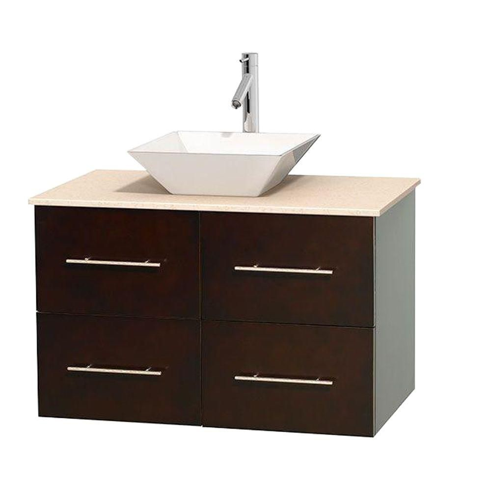 Centra 36-inch W Vanity in Espresso with Marble Top in Ivory with White Basin