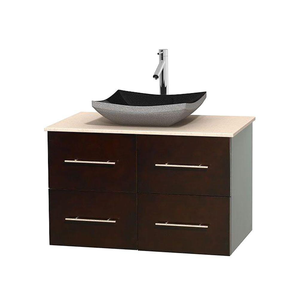 Meuble simple Centra 36 po. espresso, comptoir marbre ivoire, lavabo granit noir, sans miroir
