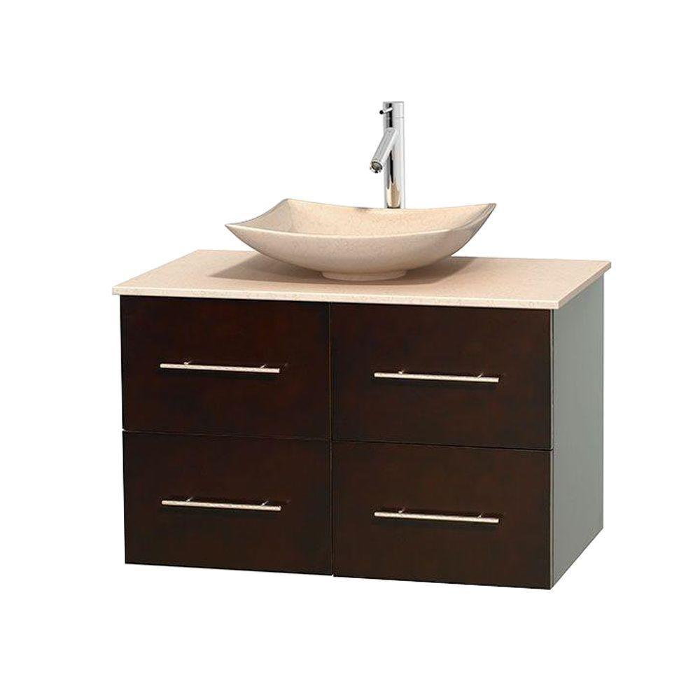 Meuble simple Centra 36 po. espresso, comptoir marbre ivoire, lavabo ivoire, sans miroir