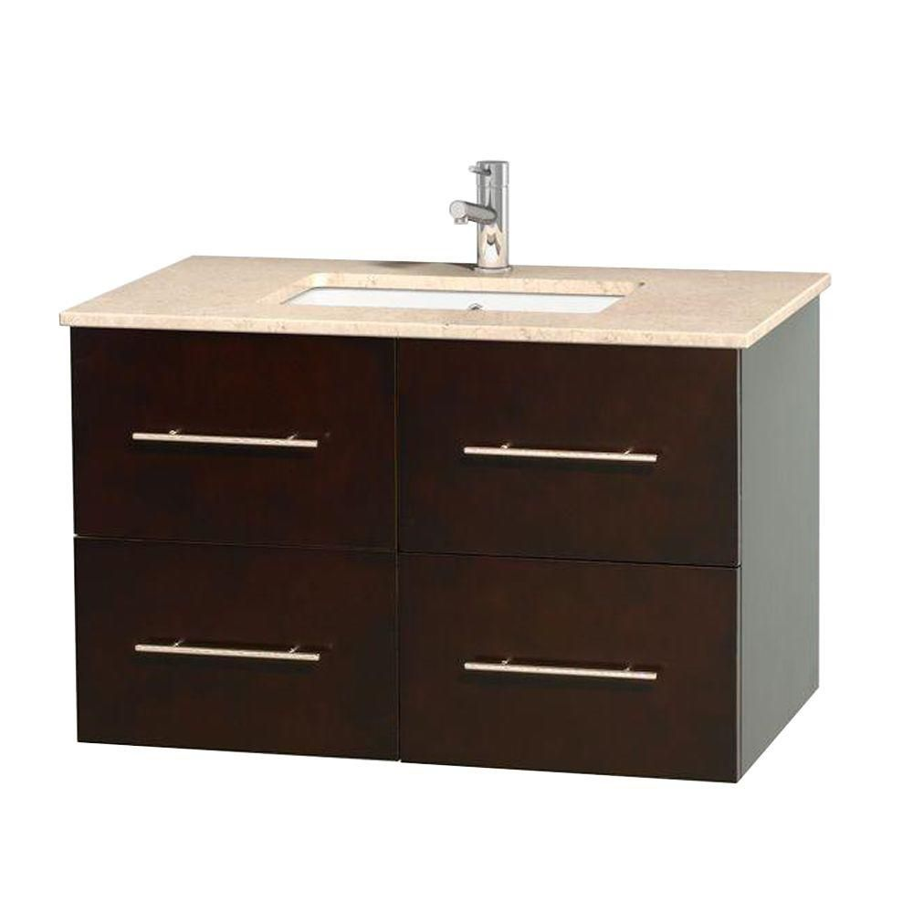 Centra 36-inch W Vanity in Espresso with Marble Top in Ivory with Square Basin