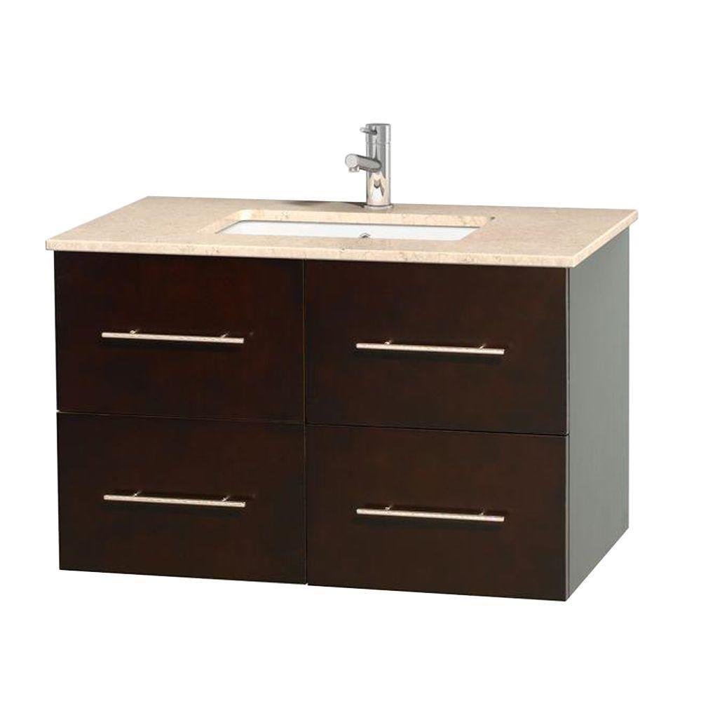 Meuble unique Centra 36 po. espresso, comptoir marbre ivoire, lavabo carré sans miroir