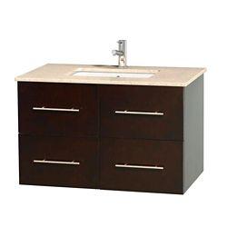 Wyndham Collection Meuble unique Centra 36 po. espresso, comptoir marbre ivoire, lavabo carré sans miroir