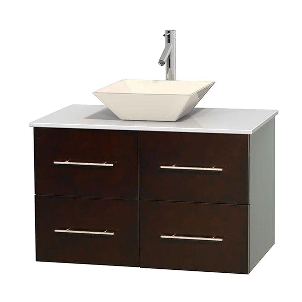 Meuble unique Centra 36 po. espresso, comptoir solide, lavabo porcelaine bone sans miroir