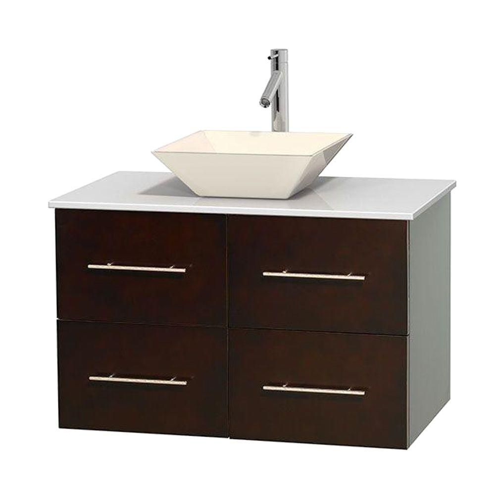 Centra 36-inch W Vanity in Espresso with Solid Top with Bone Basin