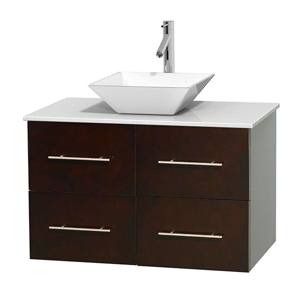 Centra 36-inch W Vanity in Espresso with Solid Top with White Basin