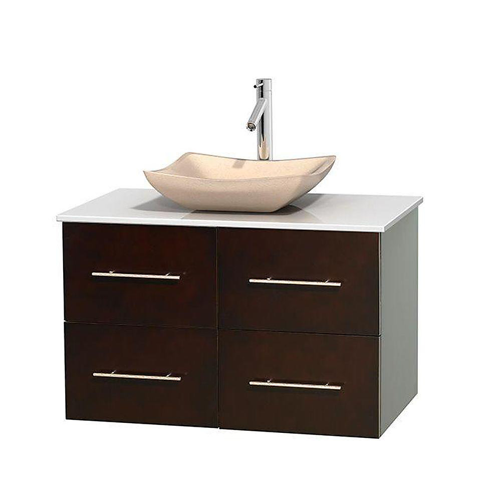 Centra 36-inch W 2-Drawer 2-Door Wall Mounted Vanity in Brown With Artificial Stone Top in White