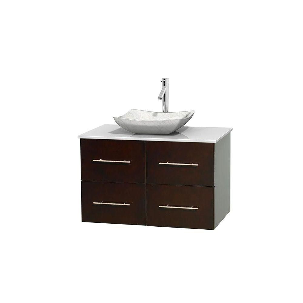 Wyndham Collection Centra 36-inch W 2-Drawer 2-Door Wall Mounted Vanity in Brown With Artificial Stone Top in White
