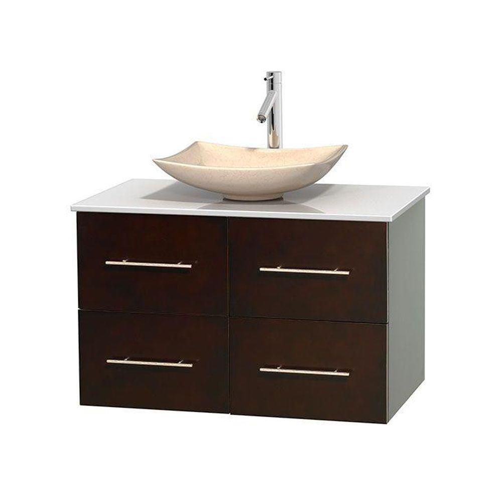 Centra 36-inch W Vanity in Espresso with Solid Top with Ivory Basin