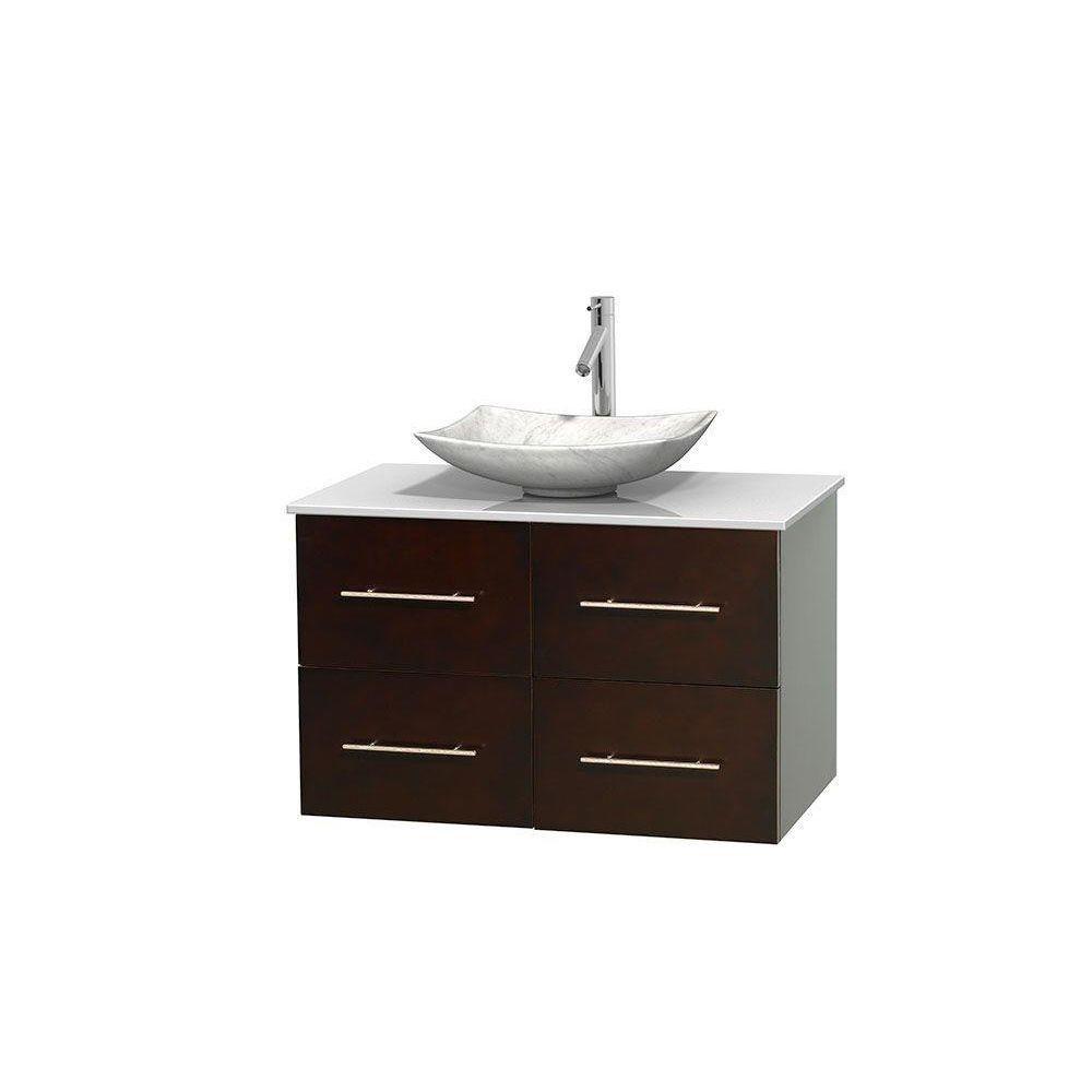 Meuble simple Centra 36 po. espresso, comptoir solide, lavabo blanc Carrare, sans miroir