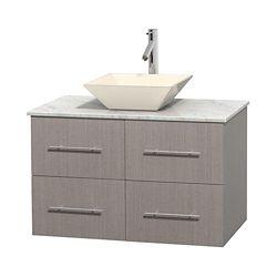 Wyndham Collection Meuble unique Centra 36 po. chêne gris, comptoir blanc Carrare, lavabo porcelaine bone sans miroir