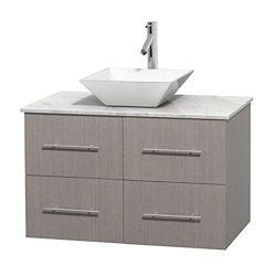 Wyndham Collection Meuble unique Centra 36 po. chêne gris, comptoir blanc Carrare, lavabo porcelaine blanche sans miroir