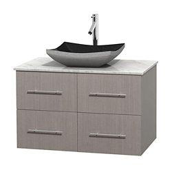 Wyndham Collection Meuble simple Centra 36 po. chêne gris, comptoir blanc Carrare, lavabo granit noir, sans miroir