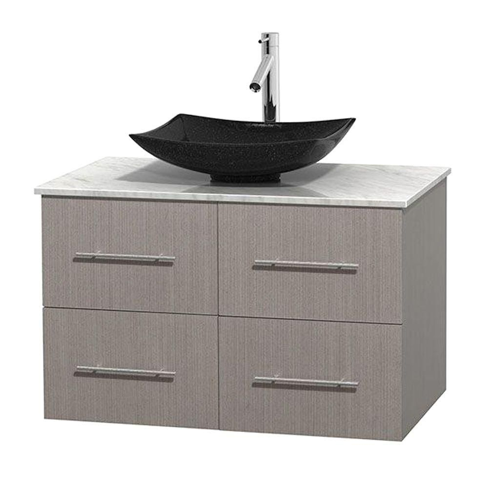 Centra 36-inch W 2-Drawer 2-Door Wall Mounted Vanity in Grey With Marble Top in White