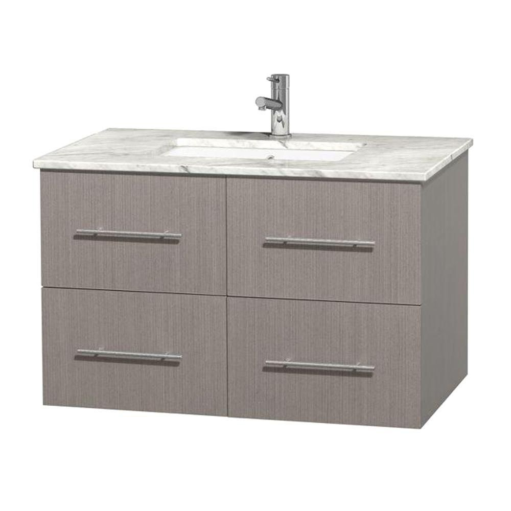 Wyndham Collection Centra 36-inch W 2-Drawer 2-Door Wall Mounted Vanity in Grey With Marble Top in White