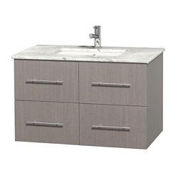 Wyndham Collection Meuble unique Centra 36 po. chêne gris, comptoir blanc Carrare, lavabo carré sans miroir