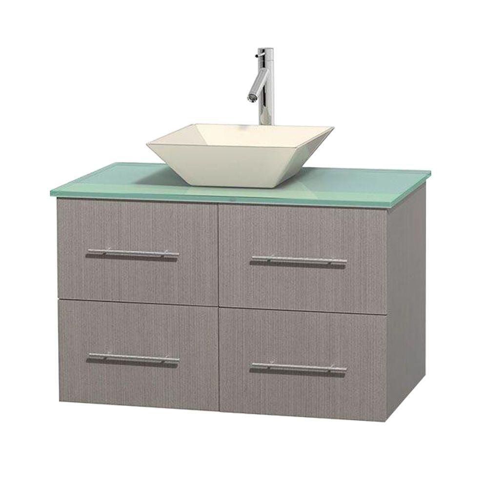 Centra 36-inch W Vanity in Grey Oak with Glass Top with Bone Basin