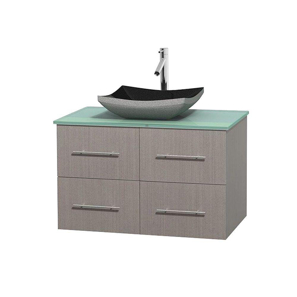 Meuble simple Centra 36 po. chêne gris, comptoir verre vert, lavabo granit noir, sans miroir