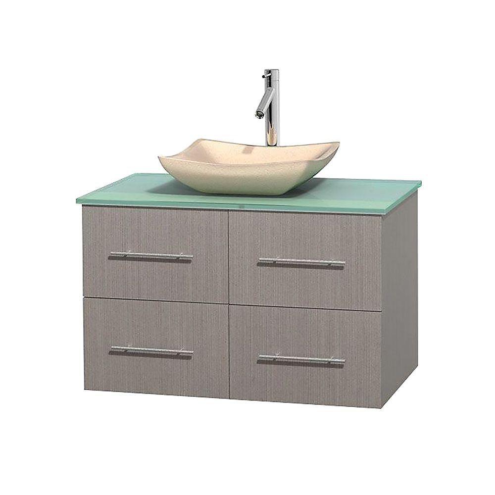 Meuble simple Centra 36 po. chêne gris, comptoir verre vert, lavabo ivoire, sans miroir